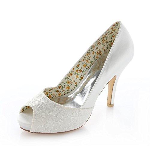 Emily bridal décolleté avorio in raso con plateau e scarpe da sposa (eu39, avorio)
