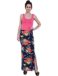 FRANCLO Women's Floral Print Skirt (100% Imported Fabric) (Best fit 28-32 Waist)