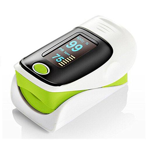 Digitaler Pulsoximeter Sauerstoffsensor und Pulsfrequenzmonitor mit Alarmeinstellung Farbe OLED-Display und Tragetasche CE-zertifiziert FDA-Zulassung