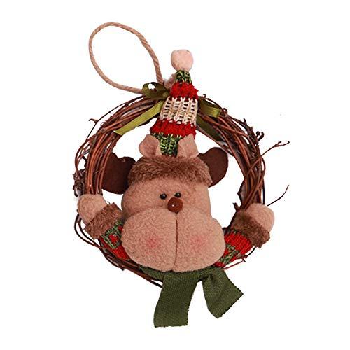 AnySell Rattan-Kranz, zum Aufhängen, für Geschäfte, Fenster, Tür, Dekoration Christmas Deer (Verkauf Kränze Zum)
