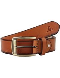 K London Men Casual, Formal Tan, Black, Golden Buckle Genuine Leather Belt