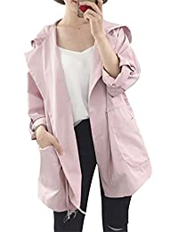 Mujeres Chaqueta Manga Larga Con Capucha Sudadera Abrigo Coat Gabardina Pink