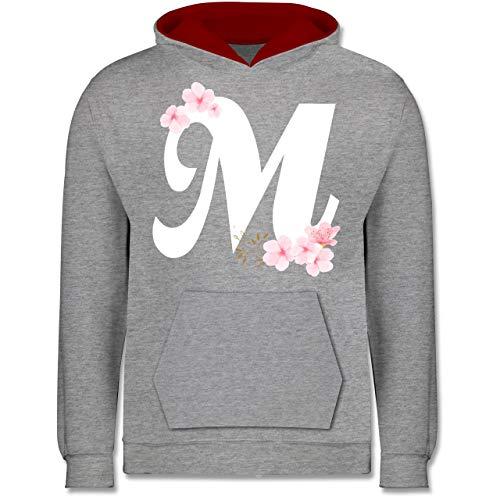 Shirtracer Anfangsbuchstaben Kind - Buchstabe M mit Kirschblüten - 7-8 Jahre (128) - Grau meliert/Rot - JH003K - Kinder Kontrast Hoodie - Sakura Womens Jersey