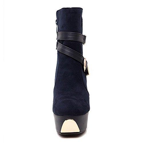 AllhqFashion Damen Niedrig-Spitze Mattglasbirne Reißverschluss Hoher Absatz Stiefel Blau