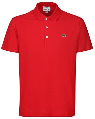 Lacoste YH4801 Herren Poloshirt L1230 SF in Slim Fit, Polohemd, Polo-Shirt, Polo, Kurzarm Aus 100% Leichte Baumwolle Rot (Red 240), EU 4