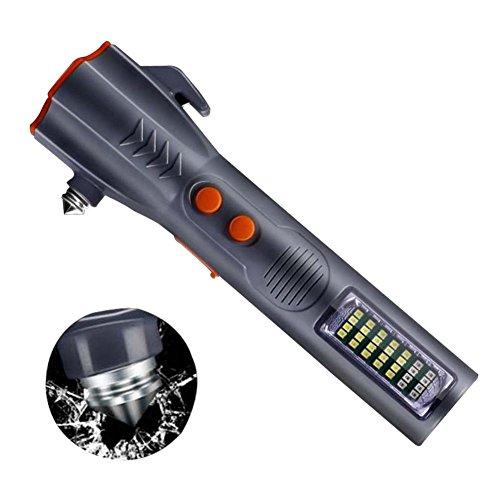 iBàste 6 en 1 Multifonctionnel Son Lumière Buzzer Alarme Rechargeable Outil d'urgence De La Lampe De Poche avec Vitres Électriques Cutter Ceinture De Sécurité
