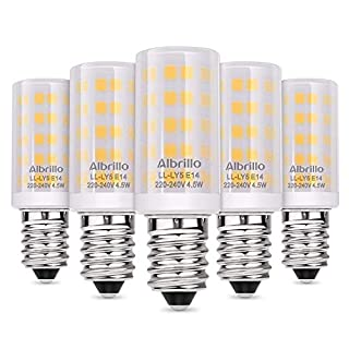 Albrillo E14 SES LED Bulbs 4.5W, 60 Watt Equivalent, 3000K Warm White, 5 Pack [Energy Class A+]