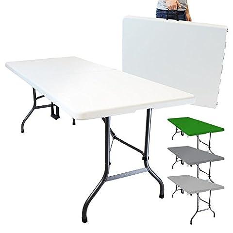 Linxor France ® Table de camping pliable avec poignée (L) 184 x (l) 76 x (H) 74 cm - 4 coloris - Norme CE - Blanc