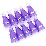 Ogquaton Professionelle Nagellackentferner Clips Wiederverwendbare Nail Art Tränken Clip Cap Nagelentferner Werkzeug 10 Stücke Lila