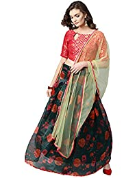 d4f57846f Inddus Women s Organza Semi-Stitched Lehenga Choli with Dupatta (IND-IFW-150
