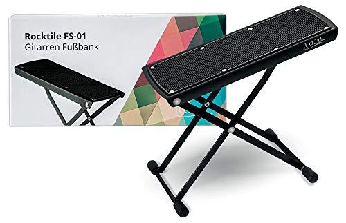Rocktile Fußbank für Gitarre - Fußstuhl in 6-Stufen höhenverstellbar - Gitarren-Fußbank für Kinder und Erwachsene - universal Fußhocker platzsparend zusammenklappbar