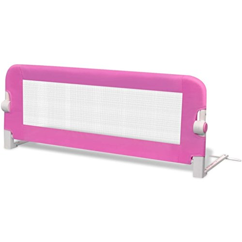 vidaXL Barandilla de seguridad infantil para la cama, color rosa 102 x...