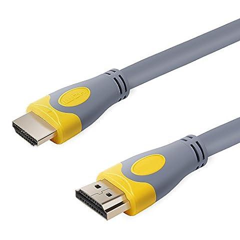 OMAS Vidéoprojecteur Câble HDMI 2.0 Haut Débit HDMI Cable Connecteur Haute Vitesse Ultra HD 4K 2160P Full HD 1080p Supporte L'Ethernet, 3D, HDR, ARC,Audio Return Channel Câble Quatre Blindage 1.5M