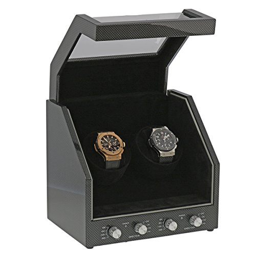 Brand New Watch Winder for 2 Watches Carbon Fibre Finish with Black Velvet interior Premier Range by Aevitas