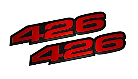 2x (pair/set) VMS Racing 426 RED on BLACK Highly Polished Aluminum EMBLEMS