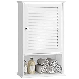 COSTWAY Hängeschrank, Badezimmerschrank hängend, Wandschrank weiß, Badschrank mit verstellbarem Einlegeboden, Badezimmer Schrank, Badhängeschrank