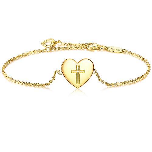 Damen Armband Kreuz Anhänger 925 Sterling Silber, goldfarben, vergoldet -