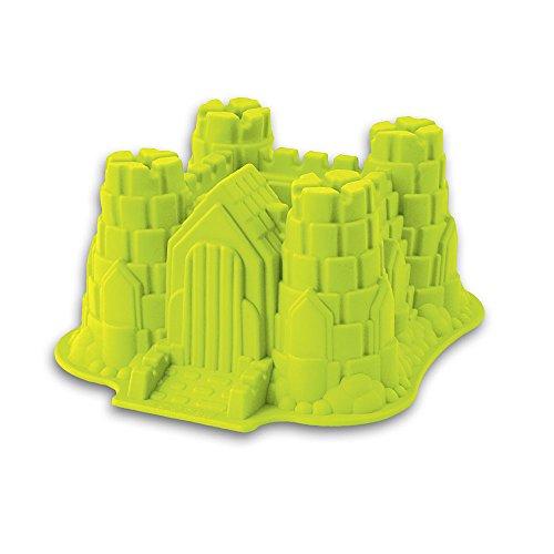 Silikon-Form, Modell: Ritterburg / Schloss, geeignet zum Backen von Kuchen und Torten sowie zur Zubereitung von Eis oder Götterspeise. Eine tolle Überraschung für Partys und Geburtstage (grün)