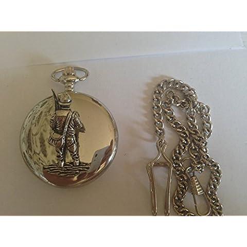 Fly F38 pescatore in argento spazzolato, Confezione regalo orologio da taschino al quarzo, made in sheffield