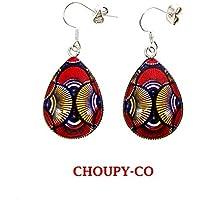 Boucles d'oreilles pendantes gouttes cabochons * wax * tissu Africain boubou pagne rouge jaune bleu ethnique boucles fantaisies femme cadeaux fêtes anniversaires noël