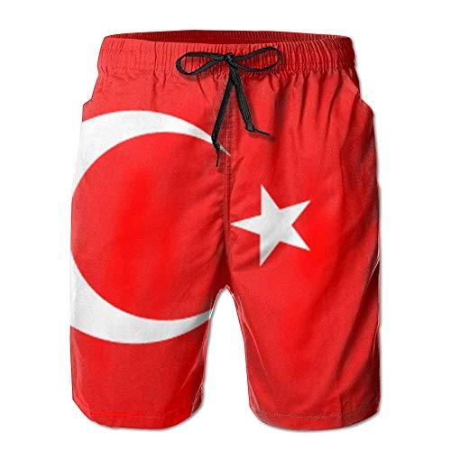 Bensontop Herren türkische Flagge Sommer Strand Shorts Freizeit Quick Dry Schwimmhose XXL