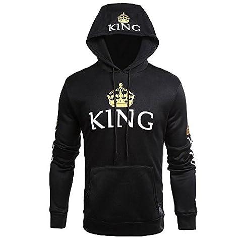 Couple Pull King Queen Hoodies Paire Pour Femme et Homme Impression des KING ET QUEEN à Capuche sweatshirt Manches Longues Pullover Par JWBBU® (L, Noir-king)