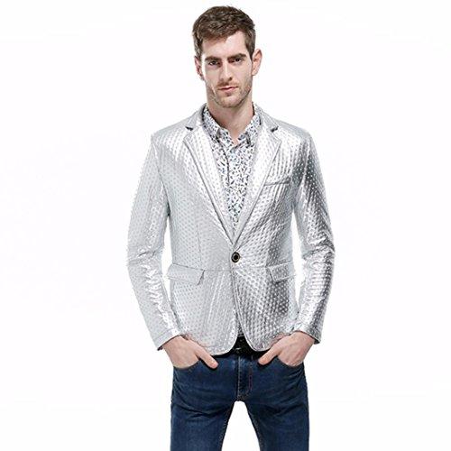 VENMO Mode Charme Männer Casual Slim Fit Shirts Anzug Blazer Mantel Jacke Wintermantel Mode Charme Herren Beiläufig Eine Taste Herren Anzug Blazer Mantel Jacke Gut aussehend Herren Tops (Silver, 2XL) (Anzug 3-tasten-weißen)