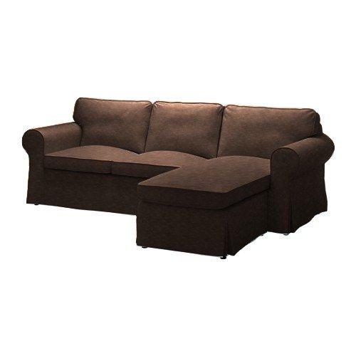 Pimp your Couch Ektorp 2er-Sofa Bezug mit Recamiere Rechts Bezug - Kunstleder Vintage [Taupe]