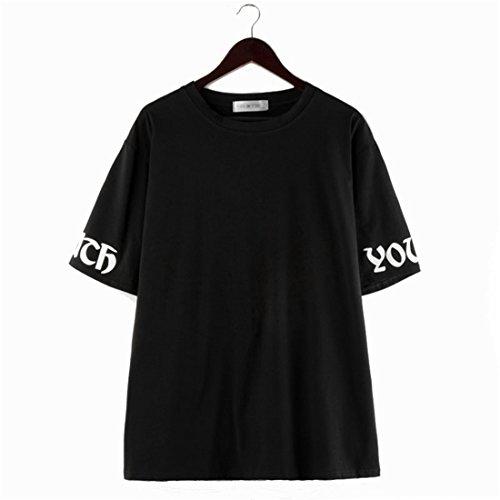 COCO clothing Damen Rundhals Halbe Ärmel Youth Sommer Schwarz Top Shirt Frauen Casual Basic Loose T-Shirt Mini Kleid Street Baumwolle Bluse Oversize Tunika Oberteil Freizeitkleid (One (Trachten Frauen In Griechische)