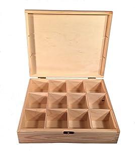 Boîte à thé Boîte à 12compartiments en bois naturel Woodeeworld