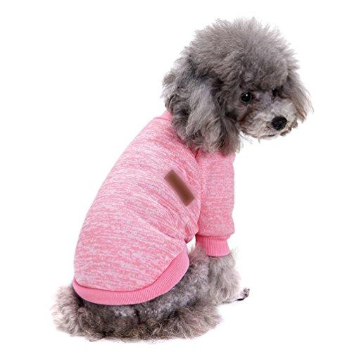 YiJee Haustier Hund Kleidung Kleine Hundchen Klassische Warme Pullover Pink L