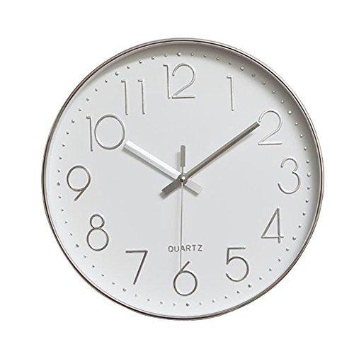 Jomparis 30cm Modern Quartz Lautlos Wanduhr Schleichende Sekunde ohne Ticken ( Silber 12 Zoll) MEHRWEG