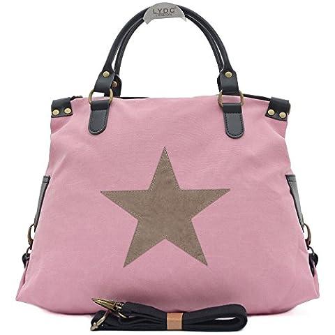 Vain Secrets Sternen Shopper Damen Handtasche mit Schulterriemen (Rosa)