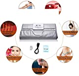Ayanxh Far Infrared Sauna Blanket, Slimming Sauna Bag, Body Scrub, Muscle Pain and Beauty Treatments (with Remote Control, Battery is Not Included),White