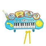 UOPJKL Kinder Keyboard Piano mit Mikrofon Trommel Musik Spielzeuge - 3 in 1 Kinderpiano Keyboard Spielzeug Klavier (Blau)