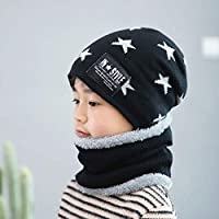 Zerobox Winter Unisex Fleece Lined Knitted Hat and Circle Scarf Set Warm Beanie Hat Skullies Cap for Kids