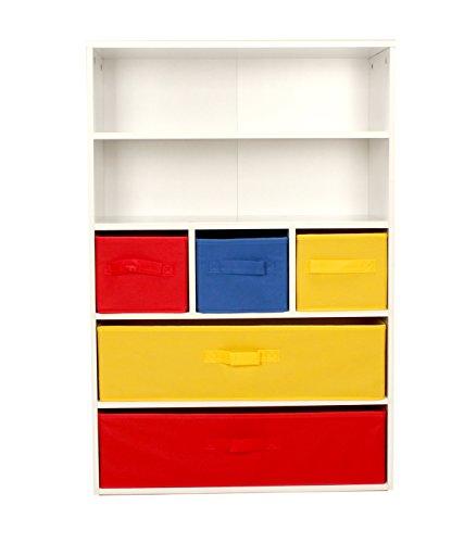 Regal / Bücherregal für Kinderzimmer, Spielzimmer, Regalfächer und herausnehmbare Leinen-Schubladen, Mülleimer, Spielzeugtruhe, Aufbewahrung, holz, Red, Yellow & Blue, W60 x D29.5 x H89 cm (Spielzimmer Bücherregal)