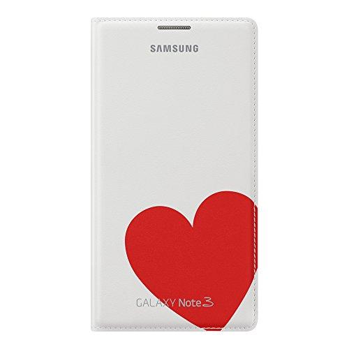 Samsung Moschino Design Flip Wallet Case Cover Hülle für Samsung  Galaxy Note 3 - Weiß/Rotes Herz - 3 Rote Herzen