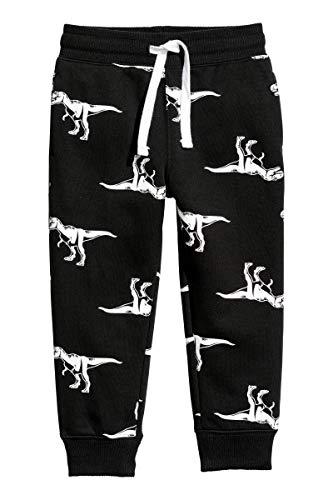 Pantalons Enfants Garçons Noir Elastique Coton de Sport Jogging Scolaire Imprimé Dinosaure Jogger Survêtement Bas Pas Cher Chaud Pantalons Unisexe 2 3 4 5 6 7 Ans