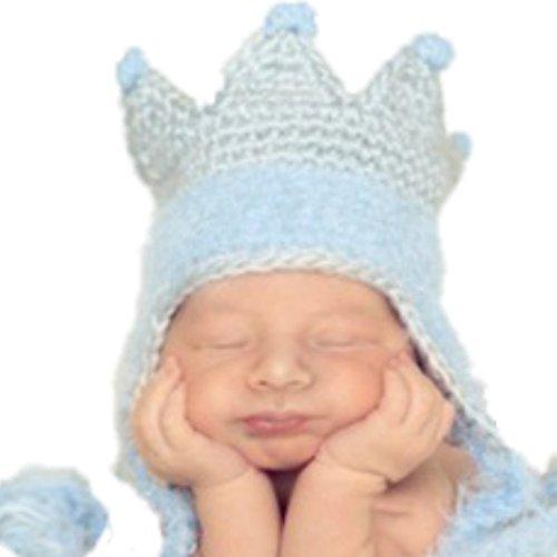 Handmade Memories Daisy Baby King Crown Hat Jungen Mütze Krone hellblau graue Strickmütze mit Bommel (6-12 Monate) (Baby-hüte Daisy)