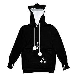 Nemo Women Kangaroo Pocket Hold Your Cat Dog Pet Casual Long Sleeve Hoodies Shirt Sweatshirt