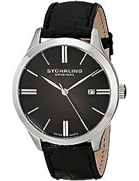 Stuhrling Original Classic Cuvette II - Reloj cuarzo hombre correa de cuero negro