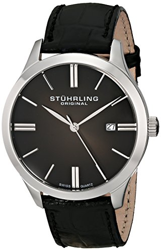 Stuhrling Original Classic Cuvette II Men's Quartz Watch with Black Dial Analogue Display and Black Leather Strap 490.33151