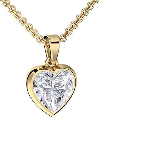 Herzkette Gold Damen (Silber 925 vergoldet) Damenkette Herz Halskette Gold Herz-Anhänger Zirkonia Stein Echt-Schmuck Herzchen Gold-Kette Gelbgold herz-form Kette Gravur wie Diamant FF71VGGGZIFA45