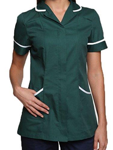 Nightingale assistenza sanitaria dottori, infermieri agire tunica uniforme da massaggio Bottle Green / White trim