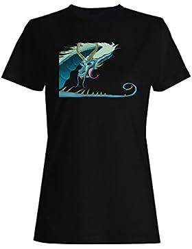Dragón azul animación dibujos animados camiseta de las mujeres h152f