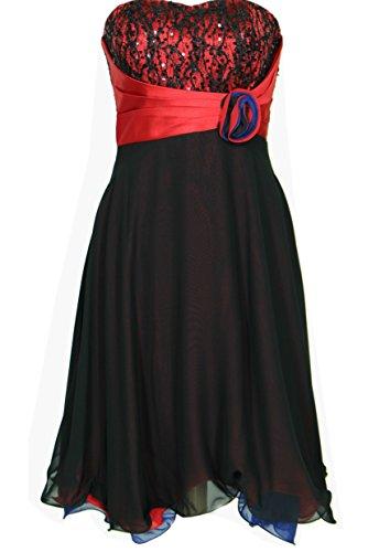 JuJu & Christine Kurzes Damen Chiffon Kleid, Abendkleid, Ballkleid, Cocktailkleid (A2066) mit Stola rot 36 (Stil Kleid Sophias)