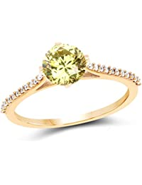 Johareez Gold Plated Contemporary Lemon Green Solitaire Cubic Zirconia Ring For Women
