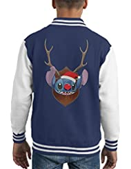 Lilo And Stitch Christmas Antler Head Kid's Varsity Jacket