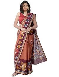 Unnati Silks Cotton Saree With Blouse Piece(Unm32087_Orange_Free Size)